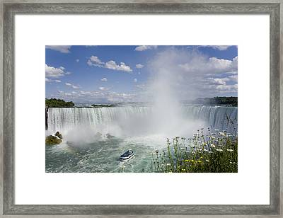 Horseshoe Falls With Maid Of The Mist Framed Print by Peter Mintz
