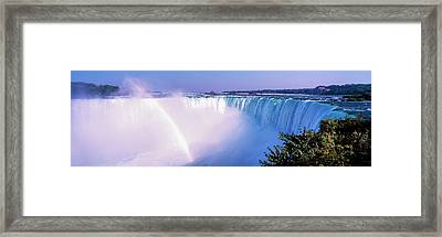 Horseshoe Falls With Rainbow, Niagara Framed Print by Panoramic Images
