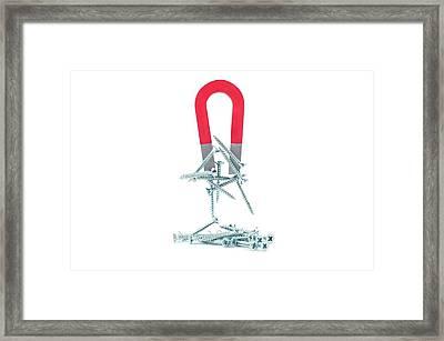 Horseshoe Magnet Attracting Metal Screws Framed Print by Dorling Kindersley/uig