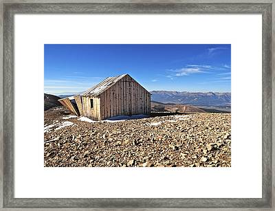 Horseshoe Mountain Mining Shack Framed Print by Aaron Spong