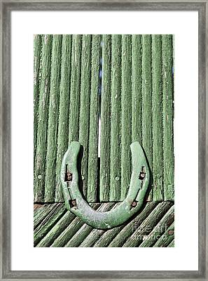 Horseshoe Nailed To A Green Door Framed Print by Robert Preston