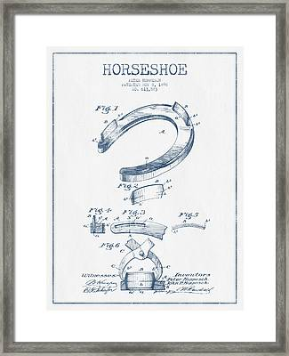 Horseshoe Patent Drawing From 1898- Blue Ink Framed Print by Aged Pixel