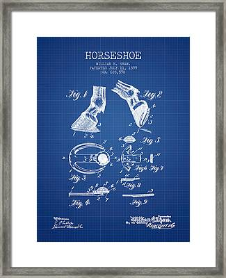 Horseshoe Patent From 1899 - Blueprint Framed Print by Aged Pixel