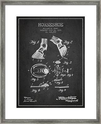 Horseshoe Patent From 1899 - Charcoal Framed Print by Aged Pixel