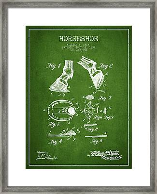 Horseshoe Patent From 1899 - Green Framed Print by Aged Pixel
