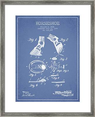 Horseshoe Patent From 1899 - Light Blue Framed Print by Aged Pixel