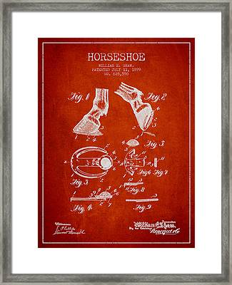 Horseshoe Patent From 1899 - Red Framed Print by Aged Pixel
