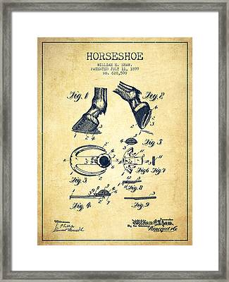 Horseshoe Patent From 1899 - Vintage Framed Print by Aged Pixel