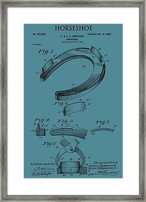 Horseshoe Patent On Blue Framed Print by Dan Sproul