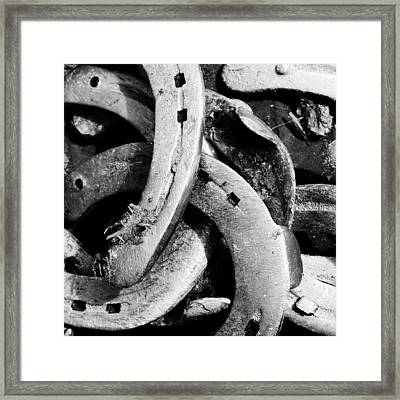 Horseshoes Black And White Framed Print