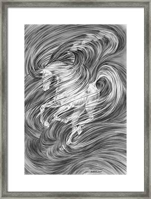 Framed Print featuring the drawing Horsessence - Fantasy Dream Horse Print by Kelli Swan
