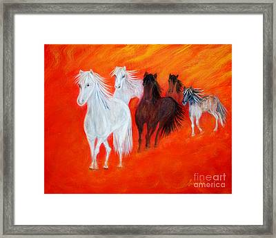 Framed Print featuring the painting Horses.soul Collection. by Oksana Semenchenko