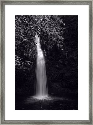 Horsetail Falls In Summer In Black And White Framed Print