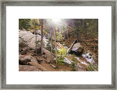 Horsethief Falls Sunburst - Cripple Creek Colorado Framed Print by Brian Harig