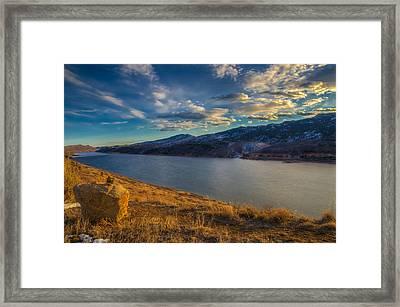 Horsetooth Reservoir Late Afternoon Framed Print by Harry Strharsky