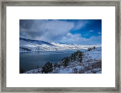 Horsetooth Reservoir Looking North Framed Print by Harry Strharsky