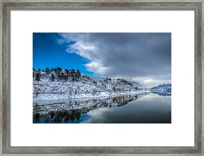 Horsetooth Reservoir Reflection Framed Print by Harry Strharsky
