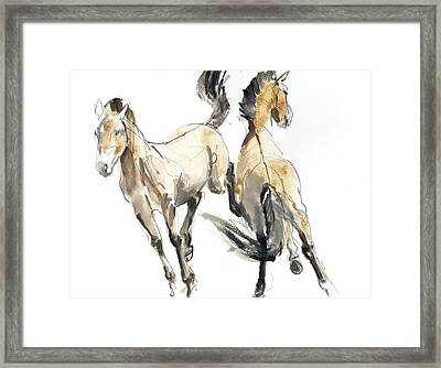 Horsing, 2013 Watercolour And Pigment On Paper Framed Print by Mark Adlington