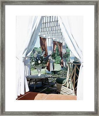 Horst's Patio In Long Island Framed Print
