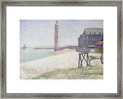 Hospice And Lighthouse At Honfleur Framed Print