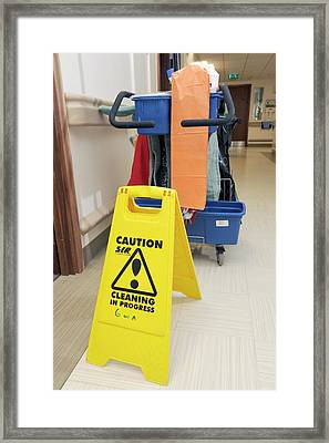 Hospital Cleaning Equipment Framed Print by Public Health England