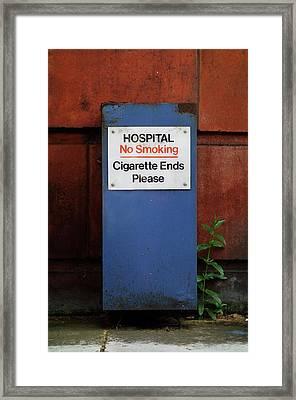 Hospital \no Smoking\ Sign Framed Print