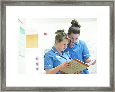 Hospital Nurses Framed Print by Lth Nhs Trust