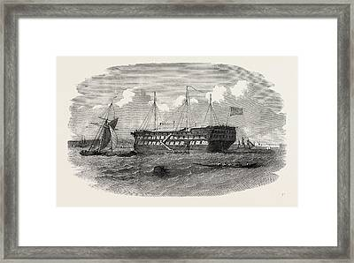 Hospital Ship Near The Seraglio At Constantinople Istanbul Framed Print by English School
