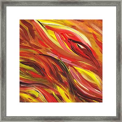 Hot Abstract Flames Framed Print by Irina Sztukowski