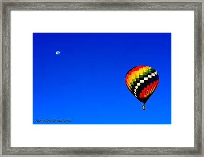 Hot Air Ballon To The Moon Framed Print by Rebecca Adams