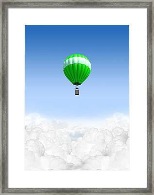 Hot Air Balloon Above The Clouds Framed Print by Allan Swart