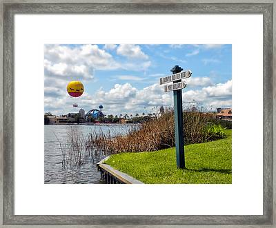 Hot Air Balloon And Old Key West Port Orleans Signage Disney World Framed Print by Thomas Woolworth