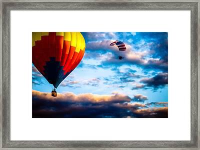 Hot Air Balloon And Powered Parachute Framed Print by Bob Orsillo
