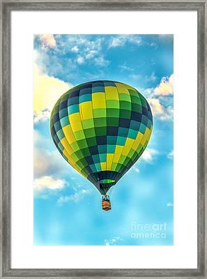 Hot Air Balloon Checkerboard Framed Print by Robert Bales