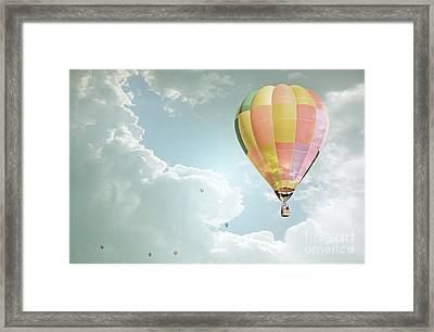 Hot Air Balloon Enchanted Clouds Framed Print by Andrea Hazel Ihlefeld