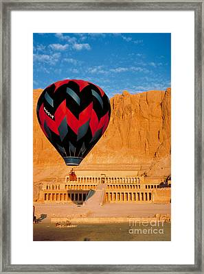 Hot Air Balloon Over Thebes Temple Framed Print