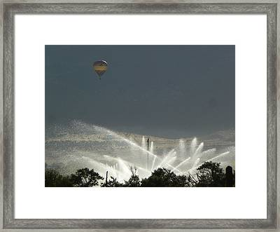 Hot Air Balloon Over Utah Farm Framed Print