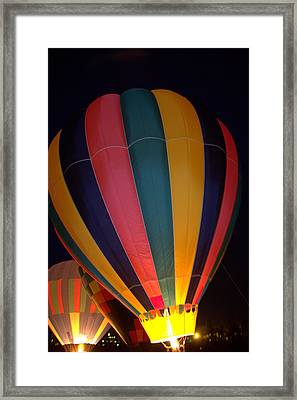 Hot Air Balloon Up Up Glow Framed Print by Kathy Bassett
