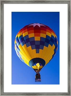 Hot Air Balloon With American Flag Framed Print