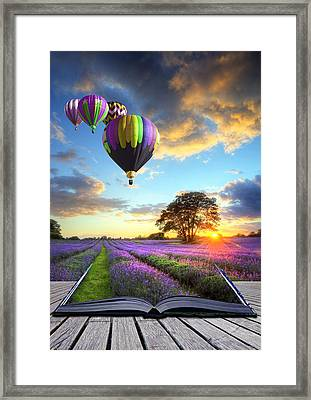 Hot Air Balloons And Lavender Book Framed Print by Matthew Gibson