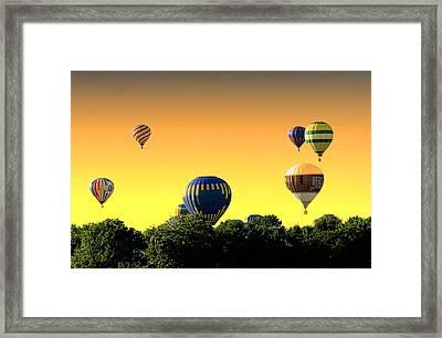 Hot Air Balloons At Sunset  Framed Print