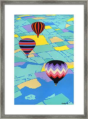 Abstract Hot Air Balloons - Ballooning - Pop Art Nouveau Retro Landscape - 1980s Decorative Stylized Framed Print by Walt Curlee