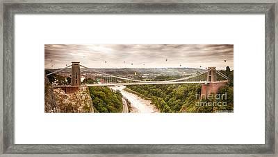 Hot Air Balloons Behind Suspension Bridge Framed Print by Simon Bratt Photography LRPS