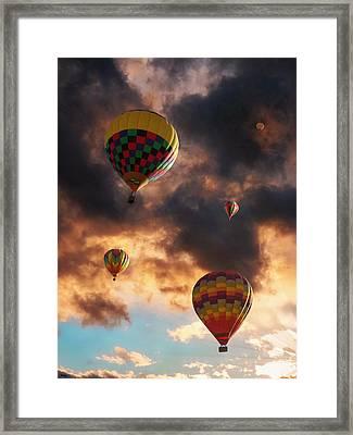 Hot Air Balloons - Chasing The Horizon Framed Print