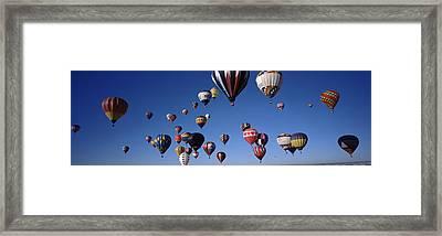 Hot Air Balloons Floating In Sky Framed Print