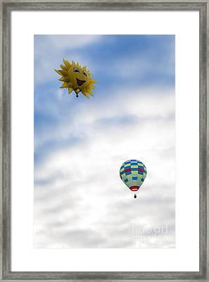 Hot Air Balloons In Flight Framed Print by Brenda Giasson