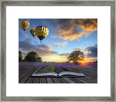 Hot Air Balloons Lavender Landscape Magic Book Pages Framed Print by Matthew Gibson