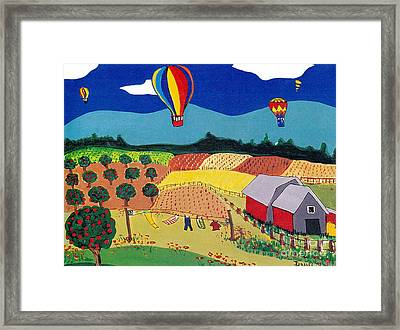 Hot Air Balloons Over Farmland Framed Print by Joyce Gebauer