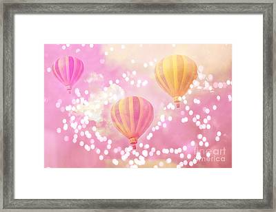 Hot Air Balloons Surreal Dreamy Baby Pink Yellow Hot Air Balloon Art - Child Baby Nursery Room Art Framed Print by Kathy Fornal