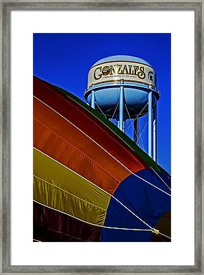 Hot Air In Gonzales Framed Print by Andy Crawford